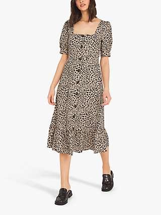 Finery Ari Leopard Print Tiered Dress, Brown/Stone
