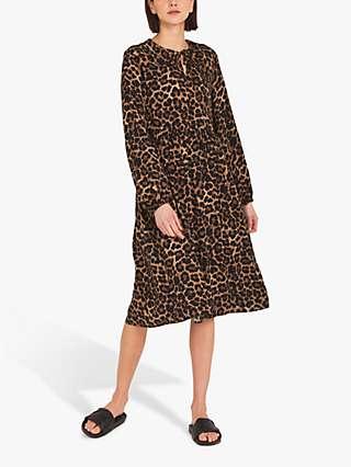 Finery Rosanna Leopard Print Midi Dress, Brown/Black
