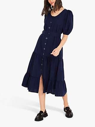 Finery Aila Tiered Dress, Navy