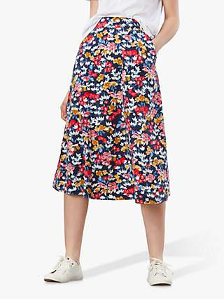 Joules Eden Floral Print Midi Skirt, Blue/Multi