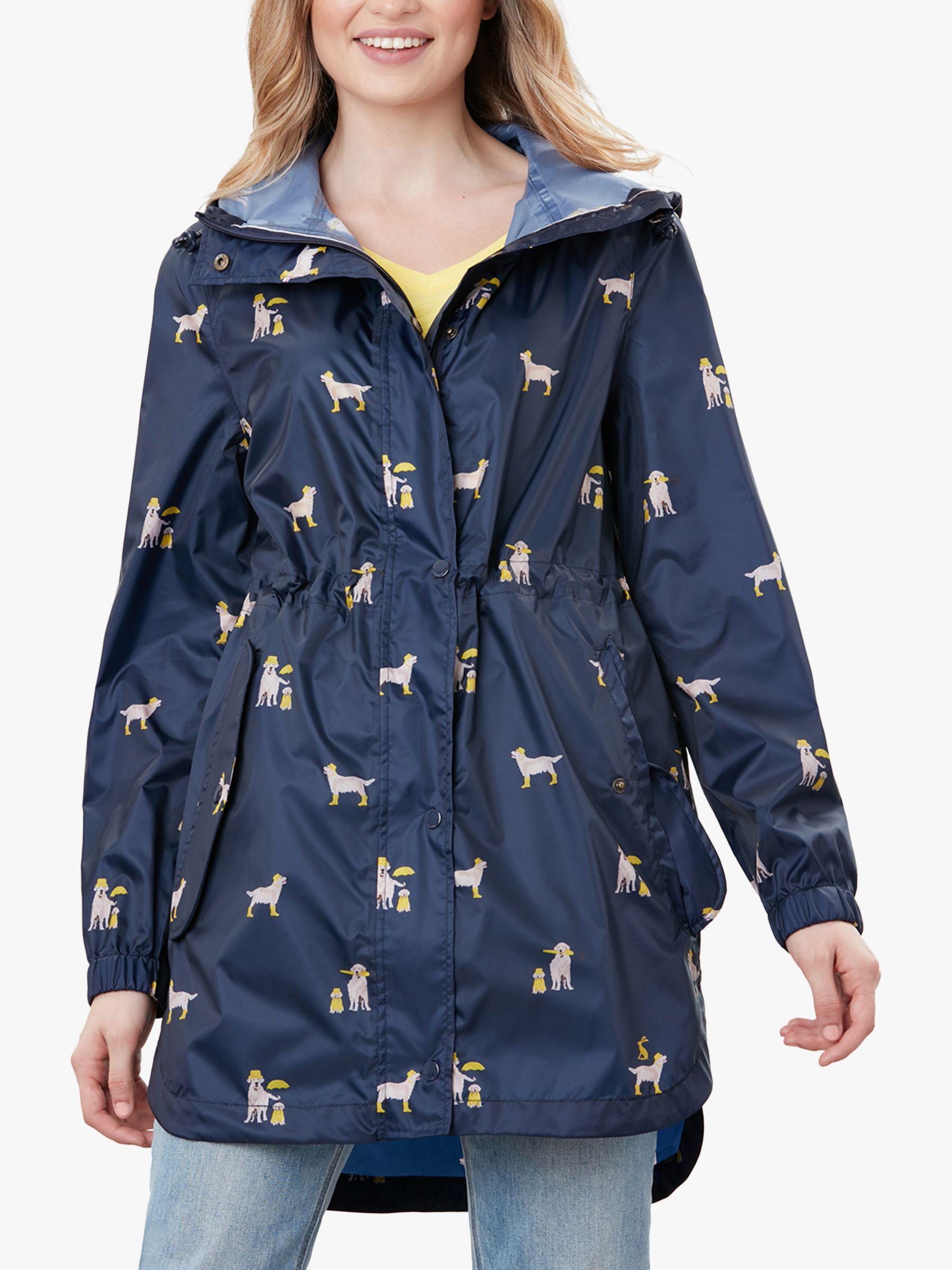 Joules Golightly Dog Print Waterproof Packaway Coat, Navy