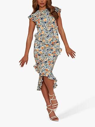 Chi Chi London Floral Ruffle Dress, Multi