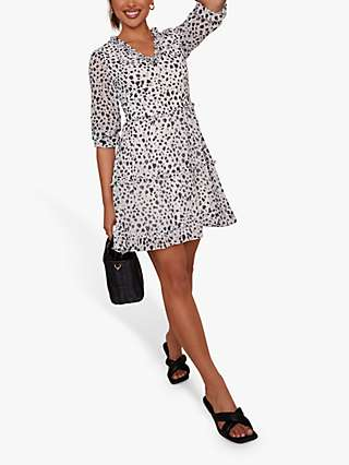 Chi Chi London Animal Print Tiered Ruffle Dress, White