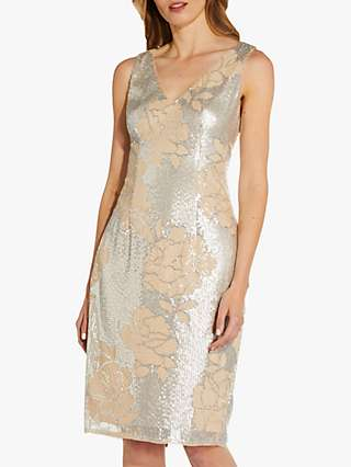 Adrianna Papell Sequin Floral V Neck Dress, Silver/Neutral