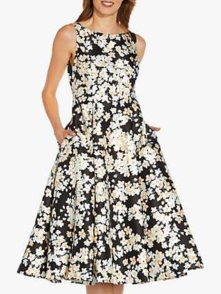 Adrianna Papell Mikado Floral Dress, Black/Multi