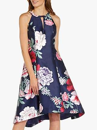 Adrianna Papell Floral Mikado Dress, Navy/Pink/Multi