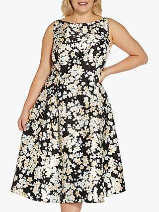 Adrianna Papell Plus Size Mikado Floral Dress, Black/Multi