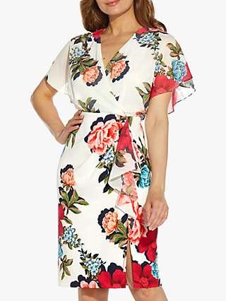 Adrianna Papell Floral Print Chiffon Sheath Dress, Ivory/Multi