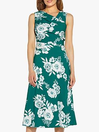 Adrianna Papell Floral Print Asymmetric Neck Bias Cut Dress, Teal/Multi