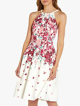 Adrianna Papell Border Print Fit And Flare Dress, Ivory/Multi