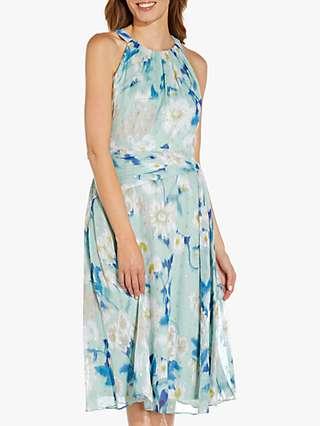 Adrianna Papell Floral Chiffon Dress, Mint/Multi