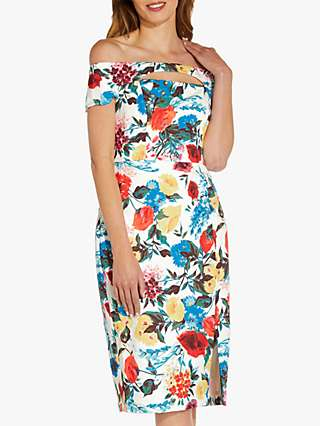 Adrianna Papell Floral Crepe Sheath Dress, Blue/Multi