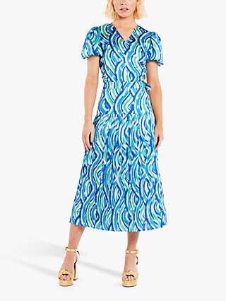 Never Fully Dressed Beatrice Swirl Pleated Midi Skirt, Blue/Multi