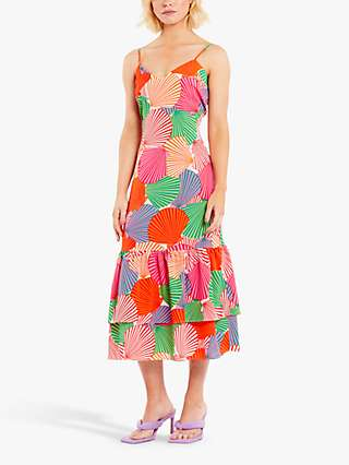 Never Fully Dressed Frida Summer Shell Tiered Midi Dress, Pink/Multi