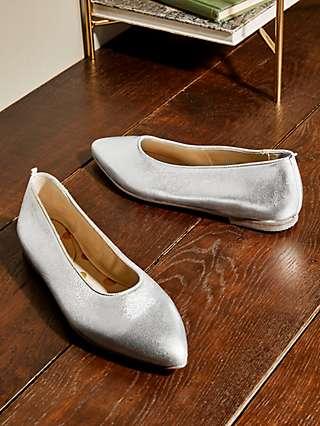 Boden Catriona Leather Ballerina Pumps, Silver Metallic