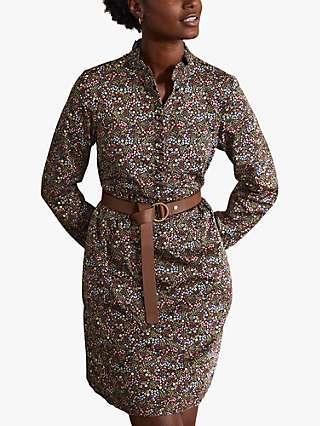 Boden Dolores Floral Print Shift Dress, Black/Enchanting