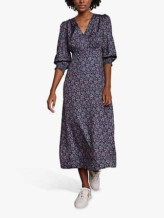 Boden Iris Floral Print Midi Tea Dress, Galaxy Blue