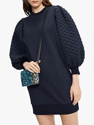 Ted Baker Quilted Puff Sleeve Mini Dress, Midnight