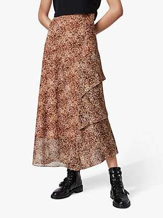 AllSaints Kali Tabby Animal Print Ruffle Skirt, Chestnut