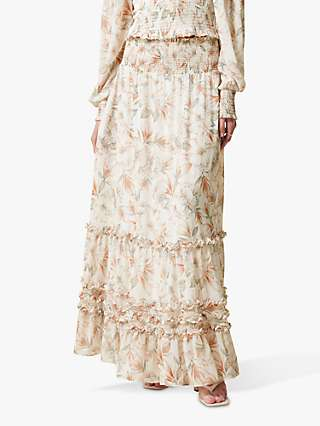 Forever New Annalise Ruffle Floral Maxi Skirt, Faded Coral