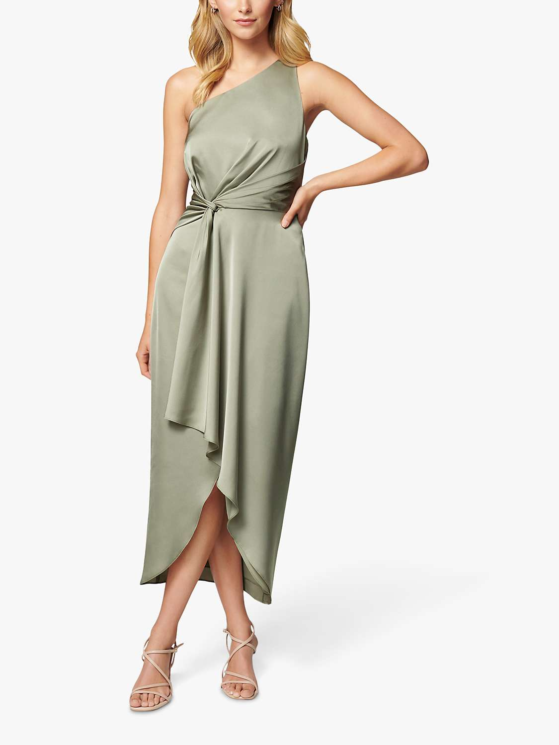 Forever New Haidee One Shoulder Midi Dress, Sage at John Lewis & Partners