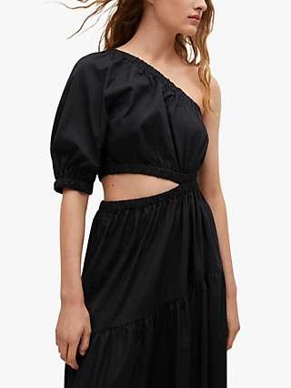 Mango Asymmetric One Shoulder Tiered Maxi Dress