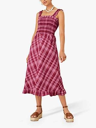 Monsoon Clement Check Print Midi Dress, Red