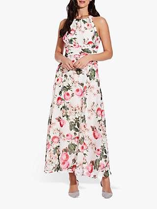 Adrianna Papell Rose Magnolia Chiffon Dress, Pink/Multi
