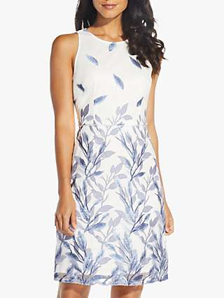 Adrianna Papell Leaf Embroidered A-Line Dress, Blue/Multi