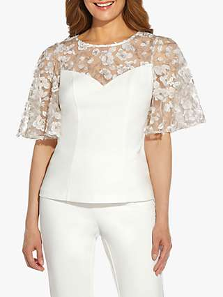 Adrianna Papell Embroidered Flutter Sleeve Crepe Top, Ivory