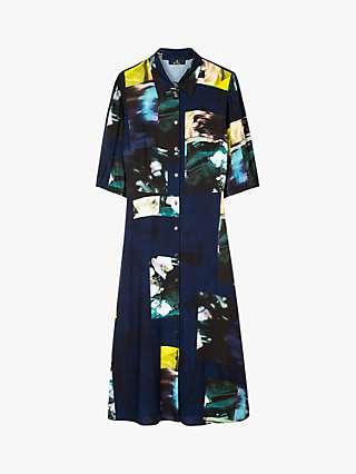PS Paul Smith 'Photo Montage' Print Midi Shirt Dress, Blue