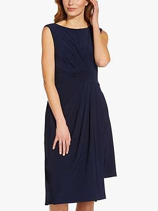 Adrianna Papell Jersey Asymmetric Midi Dress, Midnight