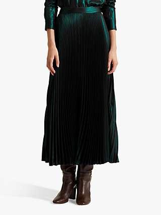 Lauren Ralph Lauren Vanetta Pleated Metallic Midi Skirt, Deep Pine
