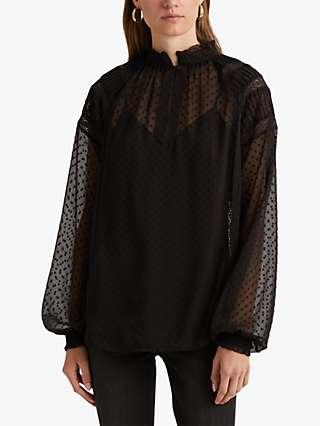 Lauren Ralph Lauren Rollyn Opaque Blouse, Black