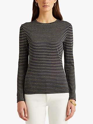 Lauren Ralph Lauren Katharin Metallic Stripe Jersey Top, Lauren Navy/Gold