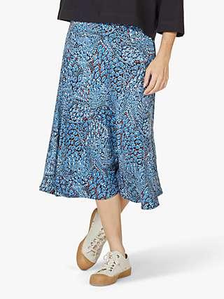 Thought Saraband Animal Print Tencel Bamboo Flared A-Line Skirt, Atlantic Blue