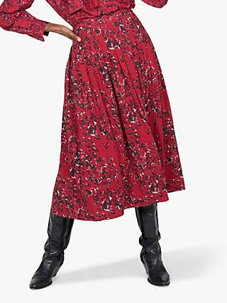 Thought Janelle Tencel Blend Pleated Midi Skirt, Currant Red
