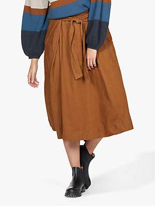 Thought Poppie Tie Waist Corduroy Midi Skirt, Toffee