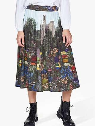 Thought Kelmscott Tencel Pleated Midi Skirt, Multi
