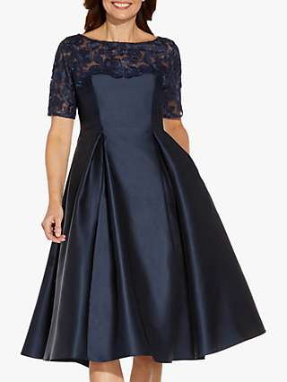 Adrianna Papell Tea Floral Embroidered Knee Length Dress, Midnight