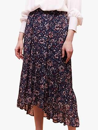 Gerard Darel Bonnie Floral Pleated Midi Skirt, Blue
