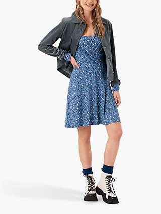Brora Liberty Jersey Collar Floral Mini Dress, Multi