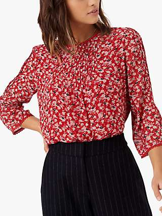 Brora Silk Ditsy Floral Blouse, Ruby