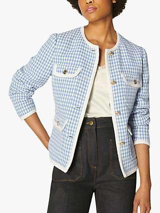 L.K Bennett Valentina Tweed Jacket, Blue/Cream