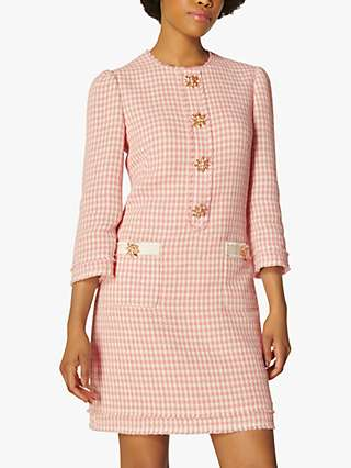 L.K.Bennett Beau Tweed Dress, Pink/Cream