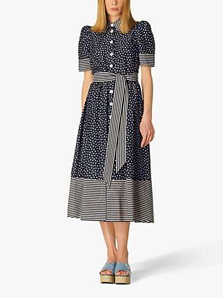 L.K.Bennett Smith Spot Print Shirt Dress, Navy/Cream