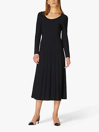 L.K.Bennett April Pleated Midi Dress, Black