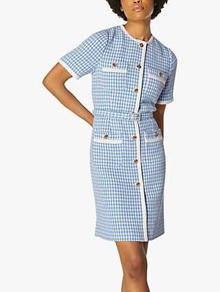 L.K.Bennett Valentina Tweed Button Detail Dress, Blue/Cream