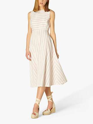 L.K.Bennett Clementine Cotton Blend Stripe Midi Dress, Cream/Red