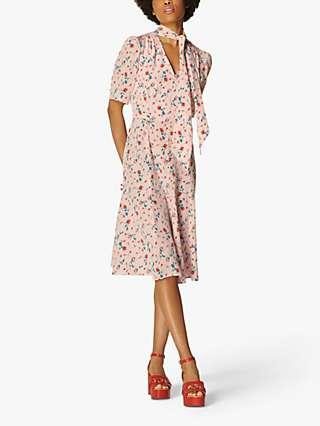 L.K.Bennett Mika Silk Tea Dress, Pink/Multi